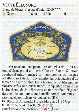 ヴーヴ・エレオノール シャンパーニュ・ミレジメ2000