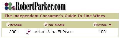 ワインアドヴォケイト100点満点獲得,アルタディ ヴィーニャ・エル・ピソン2004